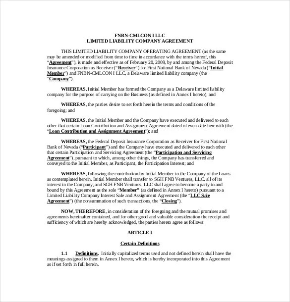 13+ Operating Agreement Templates \u2013 Sample, Example, Format Download