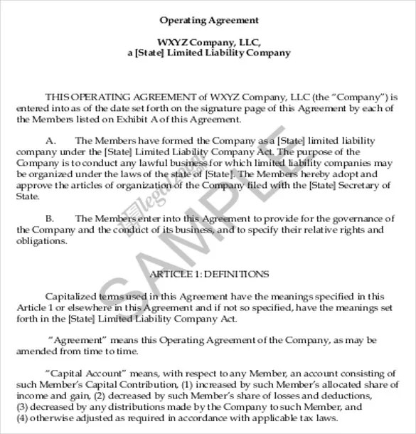 11+ Operating Agreement Templates \u2013 Sample, Example, Format Download
