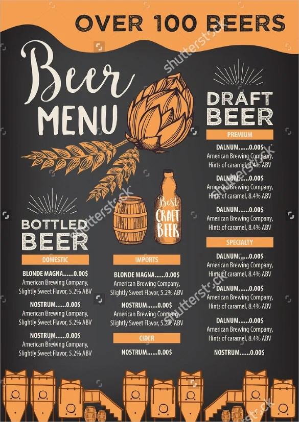 15+ Beer Menu Templates u2013 Free Sample, Example Format Download - sample chalkboard menu template