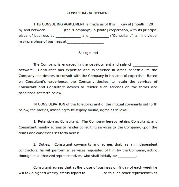 12+ Consulting Agreement Templates\u2013 Free Sample, Example, Format - consulting agreement