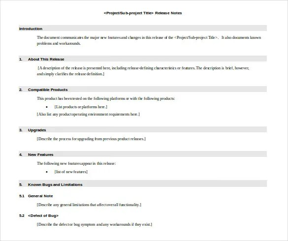 Release Notes Template - 9 Free Word, PDF Documents Download Free