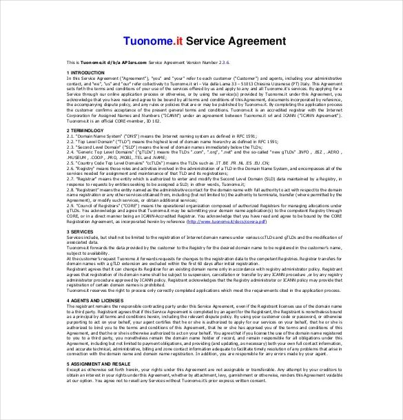 business service contract template