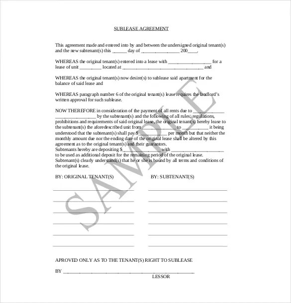 10+ Sublease Agreement Templates\u2013 Free Sample, Example, Format - Sample Sublease Agreement