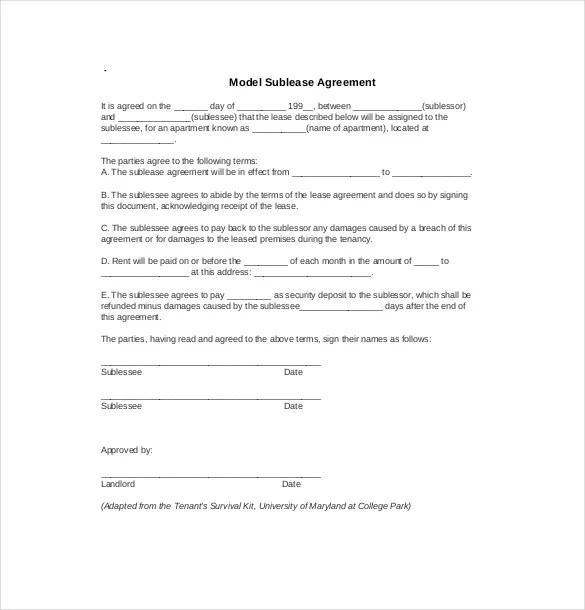 10+ Sublease Agreement Templatesu2013 Free Sample, Example, Format - sublease agreement