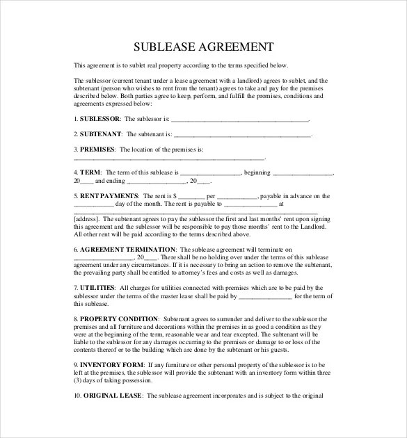 Sublease Contract Sample Commercial Sublease Agreement Template - Sample Sublease Agreement