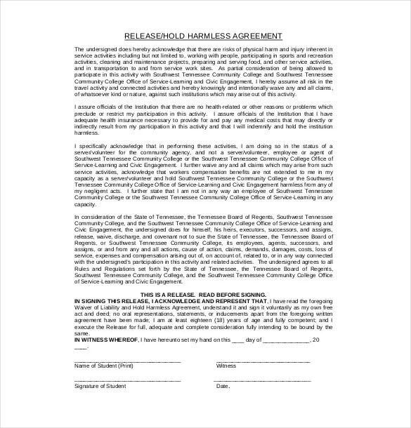 9+ Hold Harmless Agreement Templates\u2013 Free Sample, Example, Format - sample hold harmless agreement