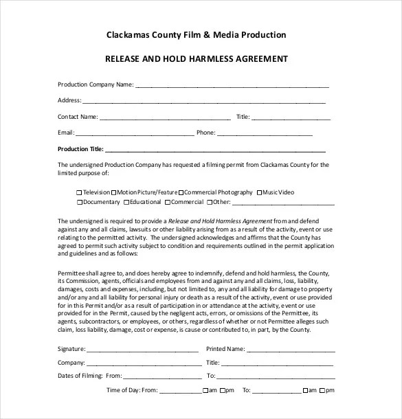 9+ Hold Harmless Agreement Templatesu2013 Free Sample, Example, Format - liability release template