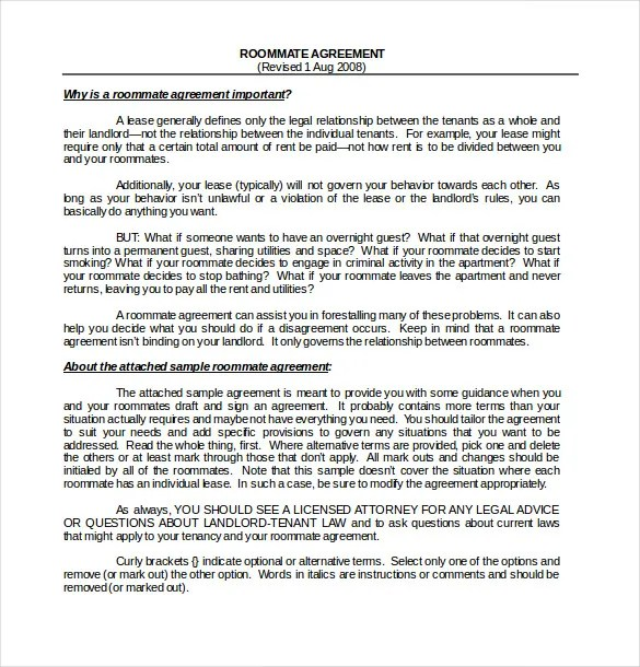 Rent To Own Contract Sample Rent To Own Addendum Contract Form 8+ - roommate agreement form