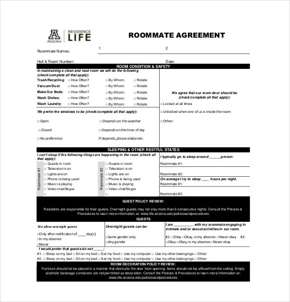 17+ Roommate Agreement Templates \u2013 Free Word, PDF Format Download