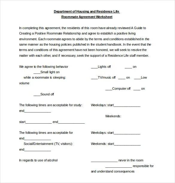 12+ Roommate Agreement Templates u2013 Free Sample, Example, Format - roommate agreement form