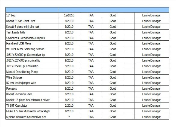 16+ Tool Inventory Templates u2013 Free Sample, Example, Format - inventory list example