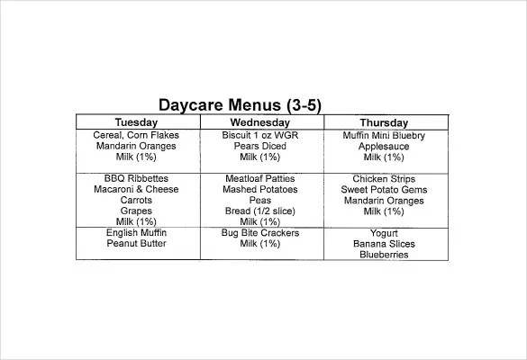Daycare Menu Templates \u2013 11+ Free Printable,PDF Documents Download - daycare meal plan