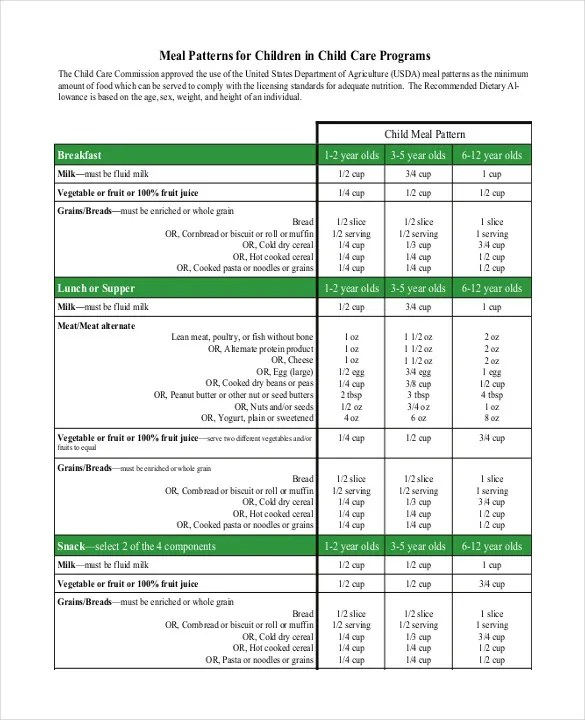 Daycare Menu Templates \u2013 11+ Free Printable,PDF Documents Download