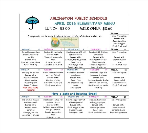School Menu Templates \u2013 14+ Free Printable, PDF Documents Download
