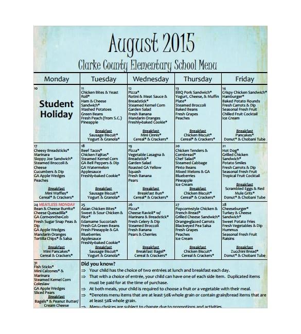 School Menu Templates \u2013 14+ Free Printable, PDF Documents Download - lunch menu template free