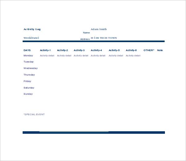 Doc#600600 Activity Log Template u2013 Activity Log Template 12 Free - activity log template