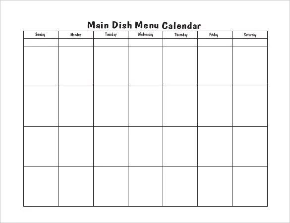 Menu Calendar Templates -10+ Printable, PDF Documents Download
