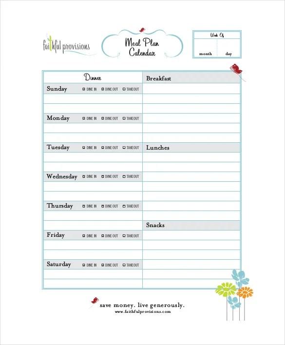 Menu Calendar Templates -10+ Printable, PDF Documents Download - weekly dinner meal plans