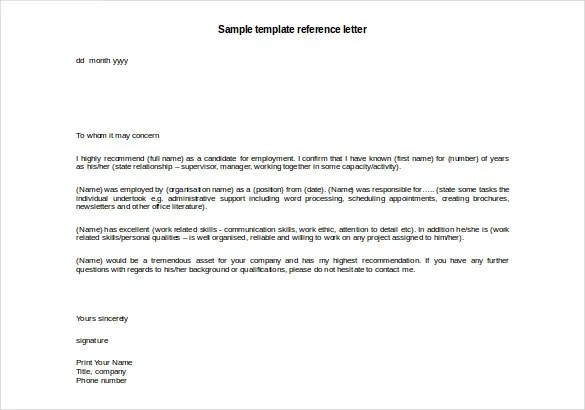 template for reference letter - Ozilalmanoof - example personal reference letter