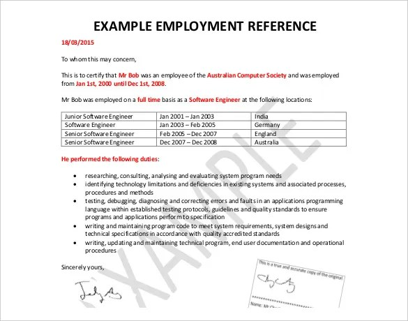 Reference Letter Template - 49+ Free Sample, Example Format Free - letter of reference for employee