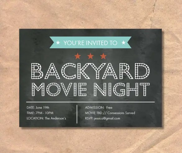 Chalkboard Invitation Template - 45+ Free JPG, PSD, Indesign Format - movie invitation template free