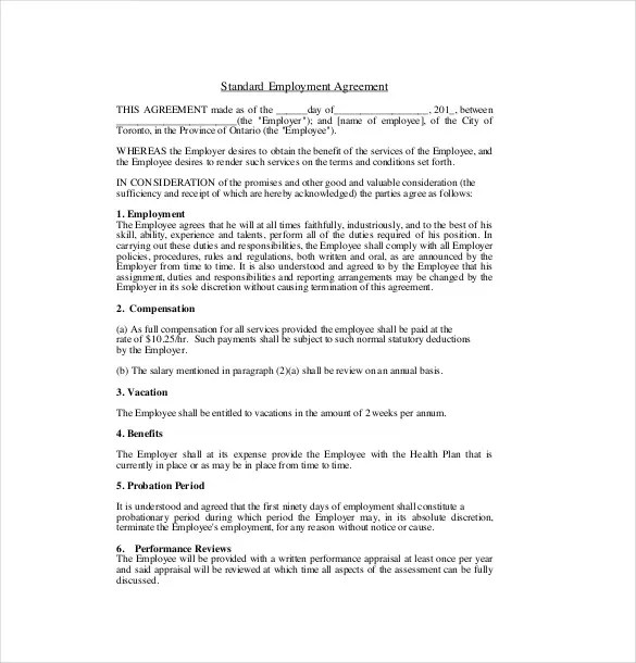 19+ Employment Agreement Templates \u2013 Free Sample, Example, Format - sample employment contract