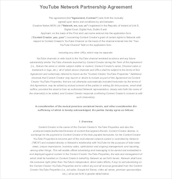 20+ Partnership Agreement Templates \u2013 Free Sample, Example, Format