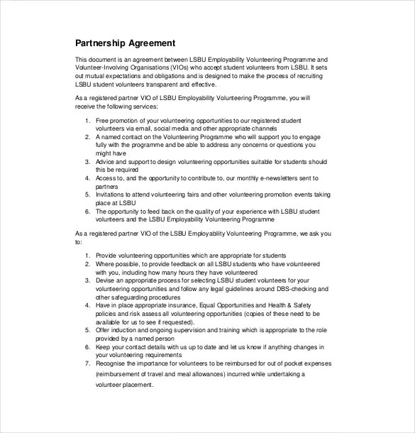 10+ Partnership Agreement Templates \\u2013 Free Sample, Example, Format #53