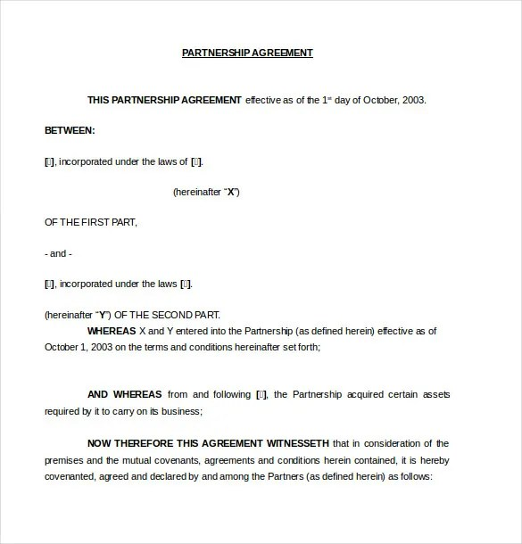 10+ Partnership Agreement Templates U2013 Free Sample, Example, Format   Partnership  Agreement Format