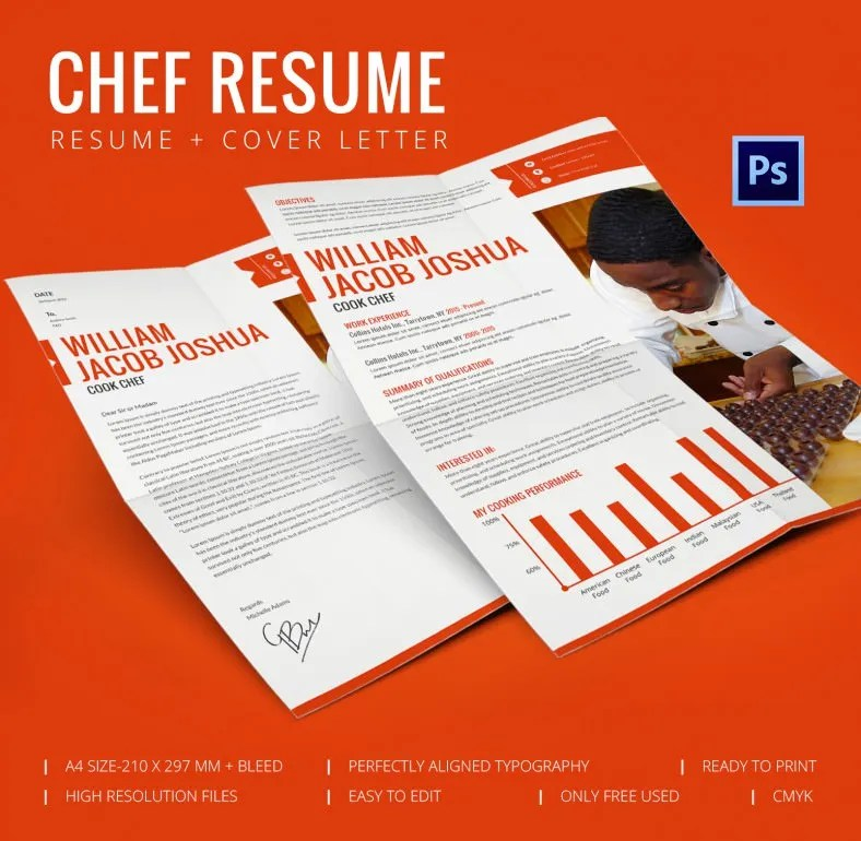Perfect Chef Resume + Cover Letter Template Free  Premium Templates
