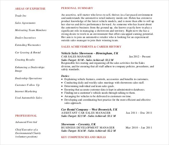 Automobile Resume Templates \u2013 25+ Free Word, PDF Documents Download - Car Rental Agent Sample Resume