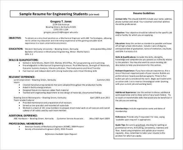Automobile Resume Templates \u2013 25+ Free Word, PDF Documents Download - automotive mechanical engineer sample resume