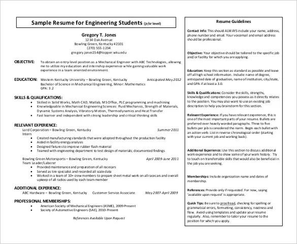 resume templates for engineering students freshers