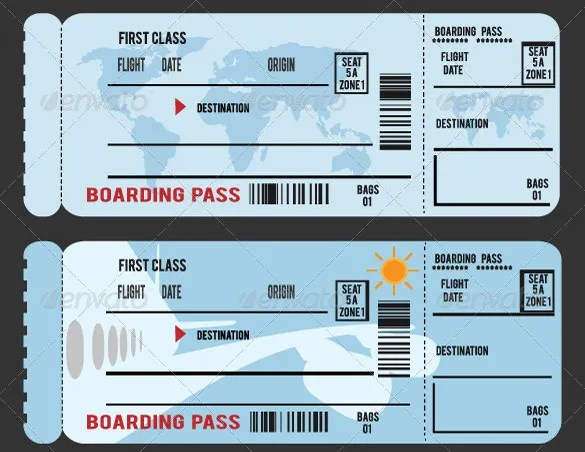 26+ Examples of Boarding Pass Design  Templates - PSD, AI Free - plane ticket invitation template