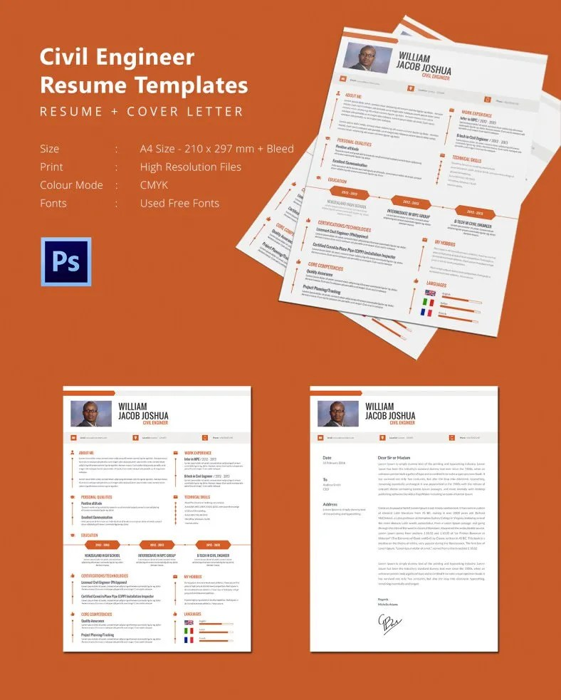 Modern Civil Engineer Resume + Cover Letter Template Free - sample engineer resume cover letter