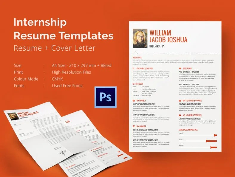 8+ Internship Resume Templates - PDF, DOC Free  Premium Templates - sample resume for an internship