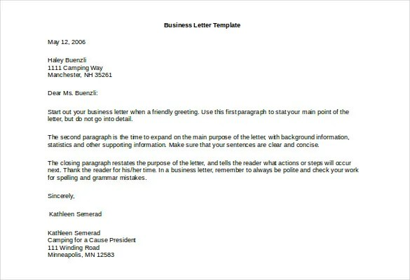 Business Letter Template - 44+ Free Word, PDF Documents Free - sample closing a business letter