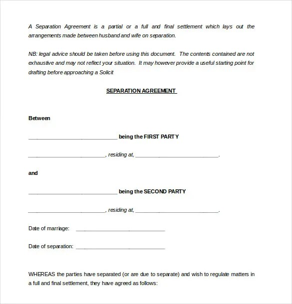 download separation agreement - Alannoscrapleftbehind - business separation agreement template