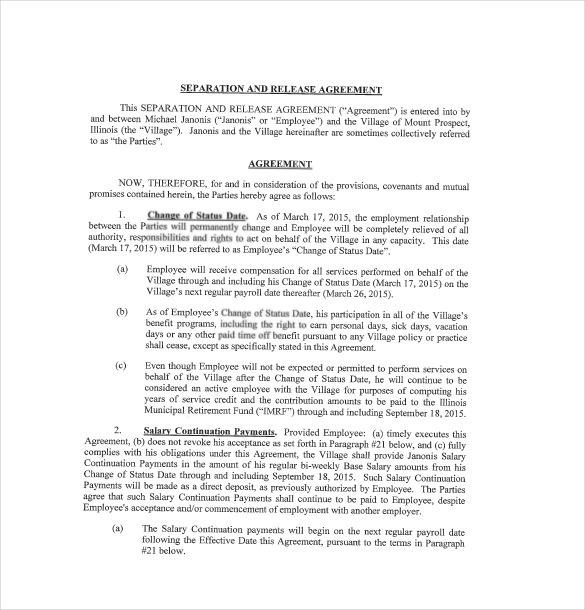 10+ Separation Agreement Templates u2013 Free Sample, Example, Format - employment separation agreement