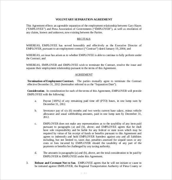 Separation Agreement Form Ontario Canada  Job Offer Letter Format Uk