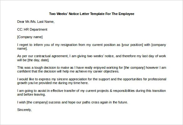 33+ Two Weeks Notice Letter Templates - PDF, DOC Free  Premium - two weeks notice letter