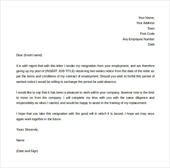 2 week notice letter templates - Selol-ink - two weeks template