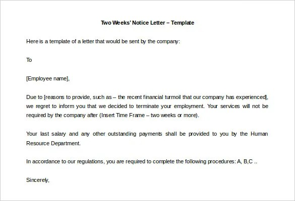 33+ Two Weeks Notice Letter Templates - PDF, DOC Free  Premium