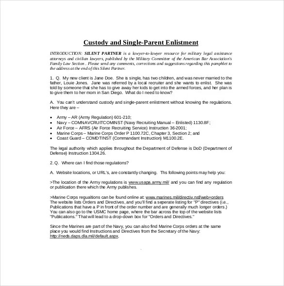 10+ Custody Agreement Templates \u2013 Free Sample, Example, Format