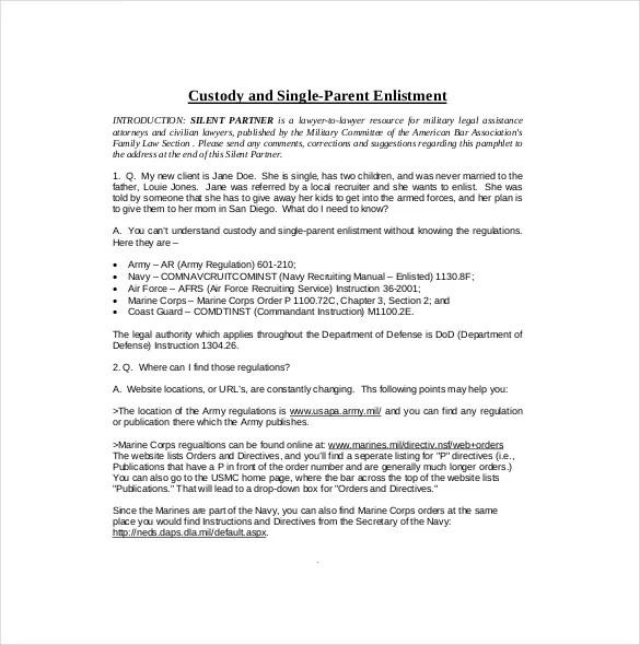 10+ Custody Agreement Templates \u2013 Free Sample, Example, Format - sample child custody agreement