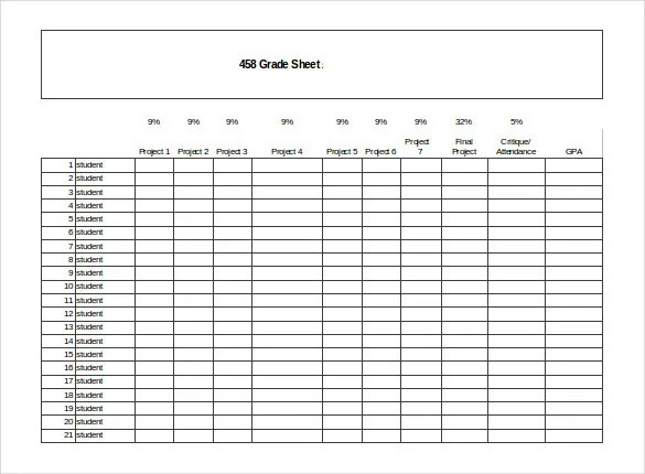 Grade Sheet Template - 32+ Free Word, Excel, PDF Documents Download - grade sheet template