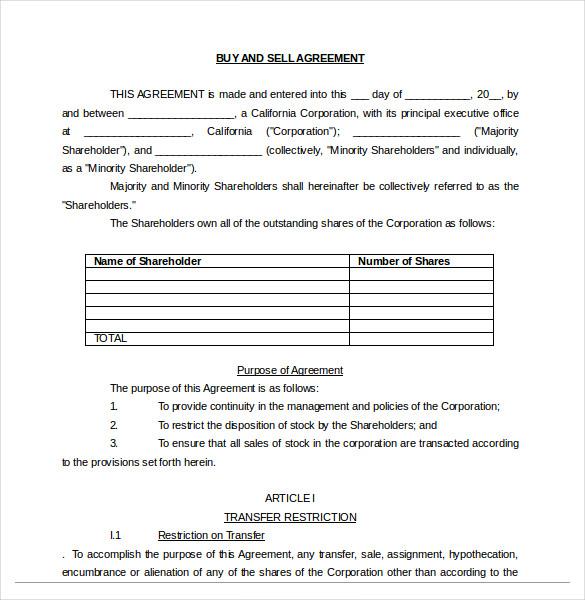 20+ Buy Sell Agreement Templates \u2013 Free Sample, Example, Format - buy sell agreement template