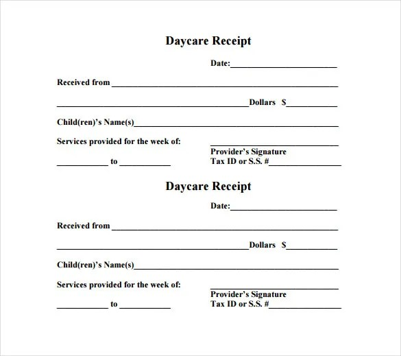 Daycare Receipt Template - 17+ Free Word, Excel, PDF Format - daycare invoice template