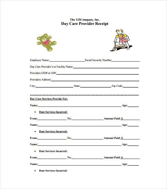 Daycare Receipt Template - 24+ Free Word, Excel, PDF Format Download - free template for receipt of payment