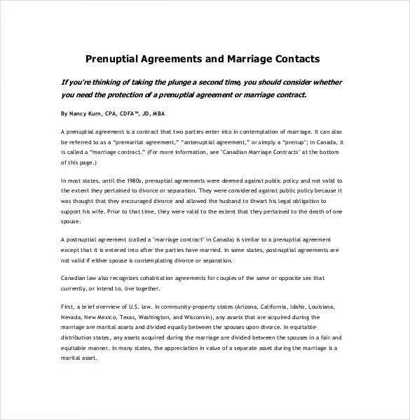 10+ Prenuptial Agreement Templates \u2013 Free Sample, Example, Format - Free Legal Agreement Templates
